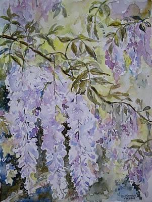 Watercolor Wisteria Painting - Wonderful Wisteria by Meenakshi Karmakar