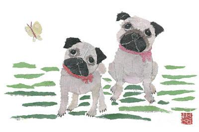 Painting - Pug Art Hand-torn Newspaper Collage Art By Keiko Suzuki Bless Hue by Keiko Suzuki