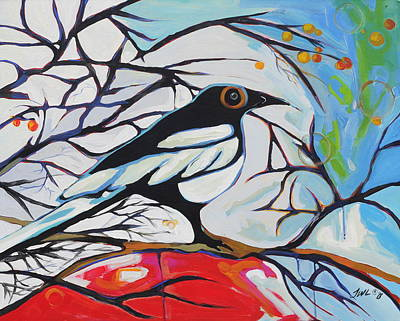 Magpies. Snow Painting - Wonderland by Jessi West Lundeen