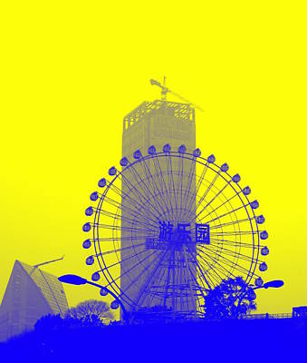 Photograph - Wonderwheel In Blue And Yellow by Valentino Visentini