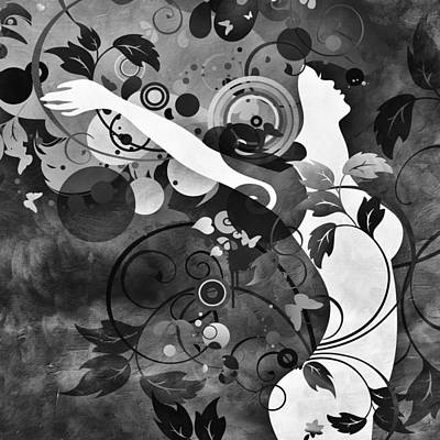 Floating Girl Mixed Media - Wondrous Bw by Angelina Vick