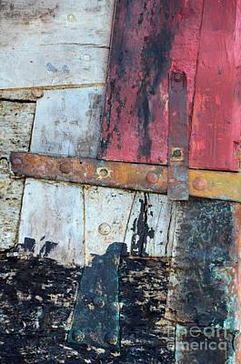 Wood And Metal Abstract Art Print by Jill Battaglia