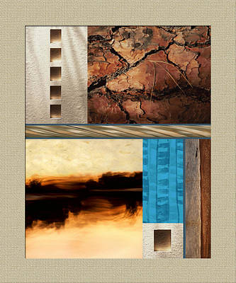 Rectangular Painting - Wood And Stone Rectangular Textures by Elaine Plesser
