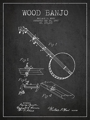Banjo Drawing - Wood Banjo Patent Drawing From 1887 - Dark by Aged Pixel