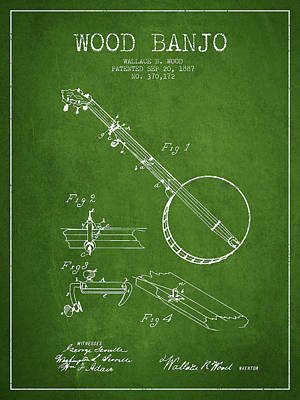 Wood Banjo Patent Drawing From 1887 - Green Art Print by Aged Pixel