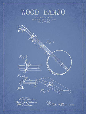 Wood Banjo Patent Drawing From 1887 - Light Blue Art Print by Aged Pixel