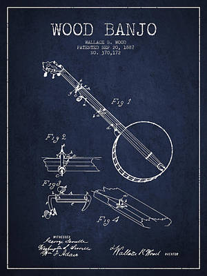 Banjo Drawing - Wood Banjo Patent Drawing From 1887 - Navy Blue by Aged Pixel