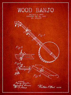 Wood Banjo Patent Drawing From 1887 - Red Art Print by Aged Pixel