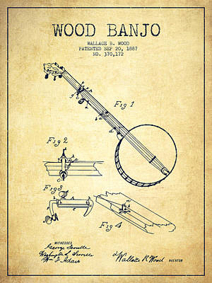 Banjo Drawing - Wood Banjo Patent Drawing From 1887 - Vintage by Aged Pixel