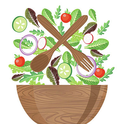 Wood Bowl Of Salad With Flying Art Print by Diane Labombarbe