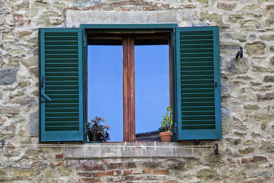 Photograph - Wood Brown Window With Green Shutters Of Tuscany by David Letts