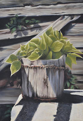 Pastel - Wood Bucket - Pastel by Ben Kotyuk
