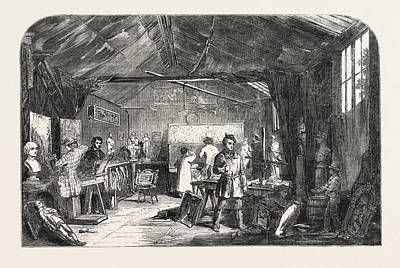 Aged Wood Drawing - Wood Carving, Studio Of Messrs by English School