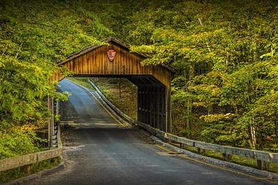Wood Covered Bridge In Autumn At Sleeping Bear Dunes Art Print by Randall Nyhof