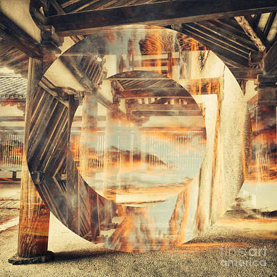 Abstruse Digital Art - Wood Craftsmanship With Sunset Clouds by Beverly Claire Kaiya