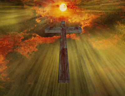 Teaching Virtues Digital Art - Wood Cross  by Bruce Rolff