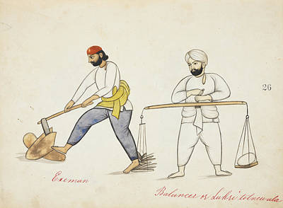 Wood-cutters Splitting And Weighing Wood Art Print