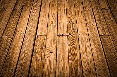 Wood Plank Flooring Photograph - Wood Deck Background by Brandon Bourdages