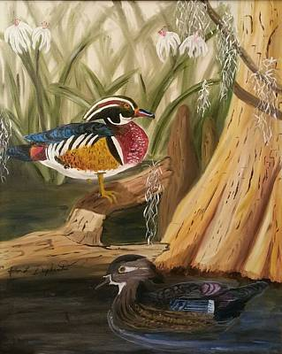 Painting - Wood Ducks by John  Duplantis
