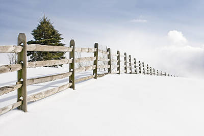 Country Snow Photograph - Wood Fence - Old Wood Fence In The Pristine White Snow by Gary Heller