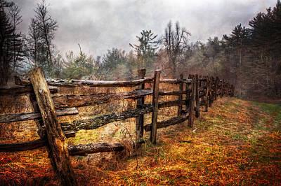 Wood Fences Art Print by Debra and Dave Vanderlaan