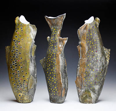 Sculpture - Trout Vessels by Mark Chuck
