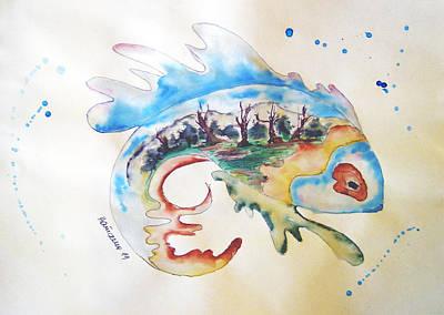 Wood-fish Art Print by Natasa Dobrosavljev