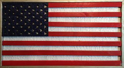 Wood Flag Number 1 Original by Ron Hedges