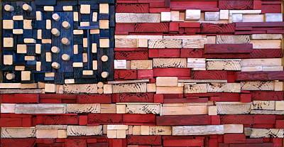 Wood Flag Number 3 Original by Ron Hedges
