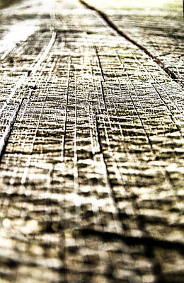 Photograph - Wood Grain With Cuts Close Up Textures by Lenny Carter