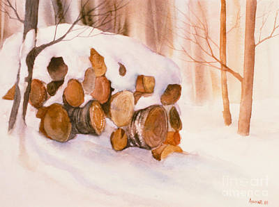 Woodpile Painting - Wood In The Woods by Teresa Ascone
