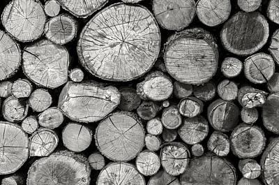 Background Photograph - Wood Pile Bw by LeeAnn McLaneGoetz McLaneGoetzStudioLLCcom