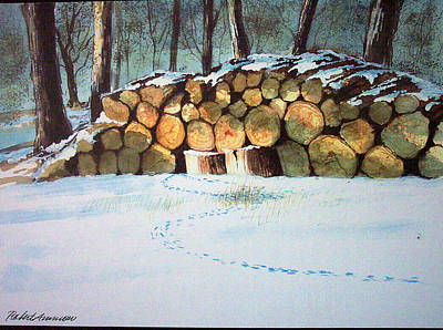 Woodpile Painting - Wood Pile by Robert Ammon