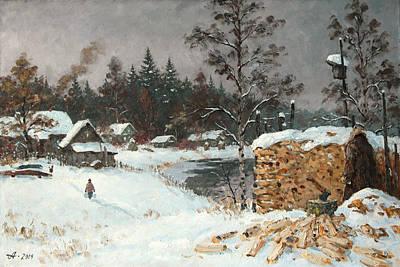 Winter Landscape Painting - Wood. Russian Village by Alexander Alexandrovsky