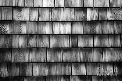Photograph - Wood Shingles Abstract Black And White by Glenn Gordon