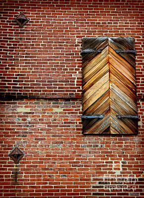 Photograph - Wood Shutters Brick Wall by Karen Adams