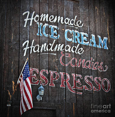 Photograph - Wood Sign Homemade Ice Cream Candies And Espresso by Valerie Garner
