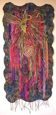 Tapestry - Textile - Wood Spirit The Little People by Jan Reich