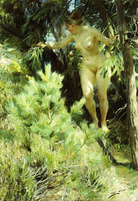 Scandinavian Painting - Wood-sprite by Anders Leonard Zorn