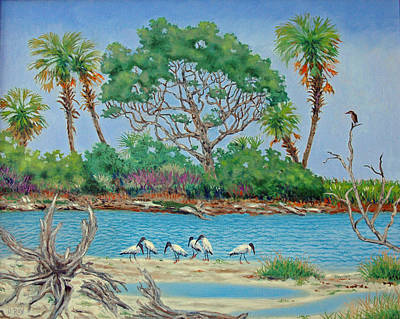 Wood Stork Beach Party Art Print by Dwain Ray