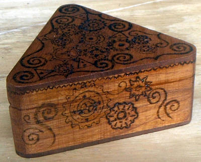 Woodburned Steampunk Jewlrey Box Original