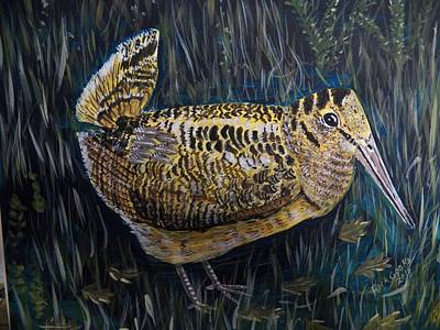 Woodcock Painting - Woodcock In Seclusion. by Richard Goohs