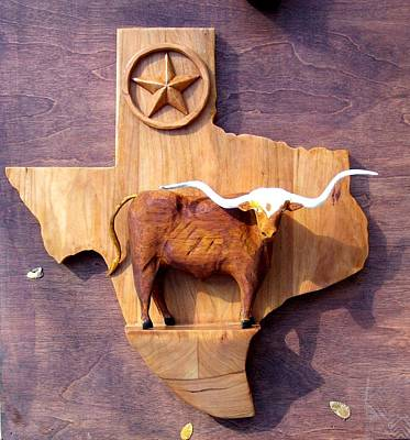 Collectible Mixed Media - Woodcrafted Texas Longhorn by Michael Pasko