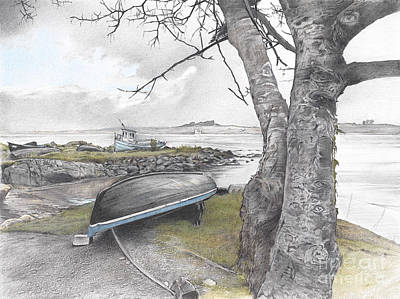 Beach Landscape Drawing - Wooded Beach by Renee Clifford