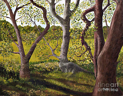 Leaves Painting - Wooded Glade by Marie Lewis
