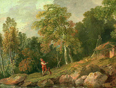 Wooded Landscape With A Boy And His Dog, George Barret Print by Litz Collection