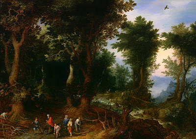 Wooded Landscape With Abraham And Isaac Art Print by Mountain Dreams