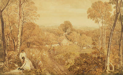 Children Playing Photograph - Wooded Landscape With Cottages And Countrywomen, Hurley, Berks, 1818 Wc Over Graphite On Paper by Joshua Cristall