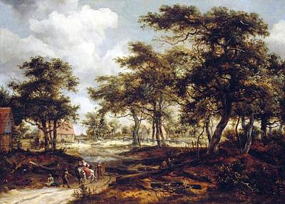 Meindert Hobbema Painting - Wooded Landscape With Travellers And Beggars On A Road  by Celestial Images