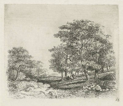 Wooded Landscape With Two Men Conversing Art Print by Hermanus Jan Hendrik Van Rijkelijkhuysen